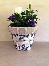 Mosaic Planter Fall Flower Pot Outdoor Indoor Kitchen Rustic Unique Plant Storage Handmade
