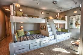 Rustic Twin Bed Kids Beach Style With Green Pillows Bench Seat Tile Floor