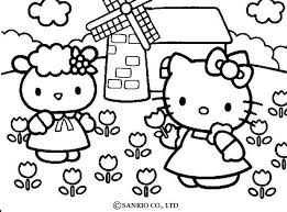 HELLO KITTY Picking The Flowers Coloring Page