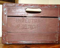 Vintage United Dairies Detroit MI Wooden Milk Crate Industrial