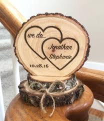 Rustic Wedding Cake Topper Wood Heart Engraved Custom Barn Keepsake