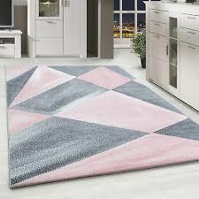 kurzflor designer teppich abstrakt gemustert wohnteppich grau rosa weiss meliert ebay