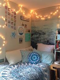 Tapestry From Amazon On Bed With Wallpaper Matching Blue Feature Wall Fairy Lights Hung Around