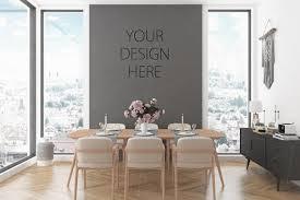 leere wand mockup rosa wohnzimmer feminin innen esszimmer mockup poster kunstwerk leinwand skandinavisches design nordischen boho weiblich