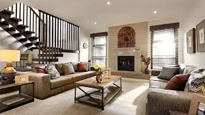 Contemporary Rustic Living Room With White Wall Brown Sofa Wooden Table Fireplace Lamp And Awesome Stairs