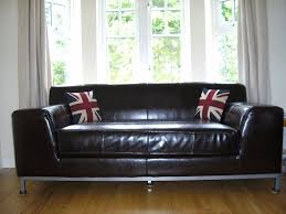 ikea kramfors sofa brown leather sofa steel legs excellent in
