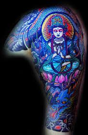 Half Sleeve Buddha And Dragon Tattoo Image