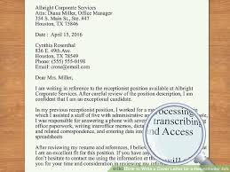 Cover Letter For Front Desk Officer by How To Write A Cover Letter For A Receptionist Job 12 Steps