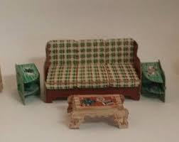 Vintage Built Rite Dollhouse Furniture 1940s Cardboard Living