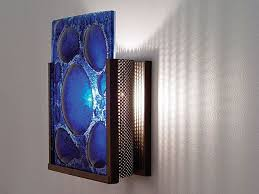 half moon blue fused glass sconce artisan crafted lighting