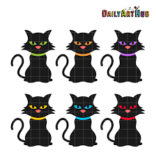 Halloween Black Cats Clip Art Set