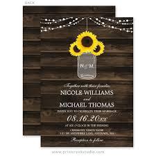 Rustic Sunflowers Mason Jar Barn Wood Wedding Invitations