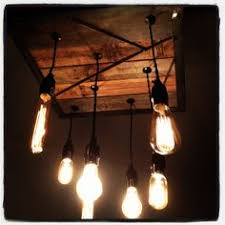 contemporary barn wood and iron light chandelier with 7 filament