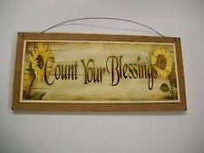 Sunflowers Count Your Blessings Country Kitchen Wooden Wall Art Sign Wood Decor