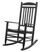 Hampton Bay Black Wood Outdoor Rocking Chair | Rocking Chair ...