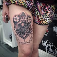 Leg Sleeve Buddha On Lotus Tattoo