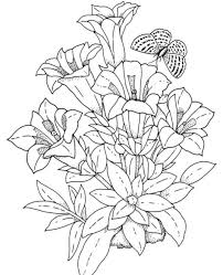 Download And Print Realistic Flowers Coloring Pages New Adult Flower