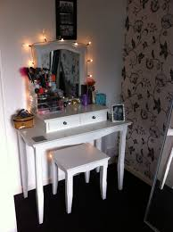 Classic White Oak Wood Bedroom Vanity Decor With Garland Lights Adorable Makeup Tables