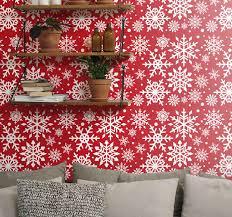 wohnzimmer tapeten rote schneeflocken