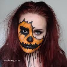 Halloween Half Mask Makeup by Torn Pumpkin Halloween Makeup Tutorial Youtube