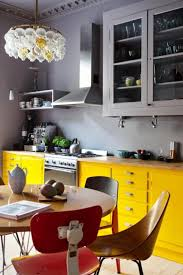 KitchenYellow Kitchen Cabinet Storages With Grey Wall Paint Bright And Colorful Design