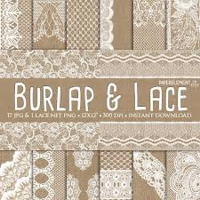 Burlap And Lace Digital Paper Wedding Invitation Background Rustic Decor Decorations