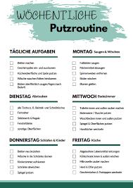 putzplan grün 9 checklisten feelgoodmama elopage