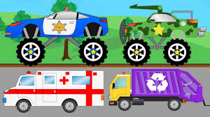 100 Trucks Cartoon Police Monster Truck Ambulance And Other Video