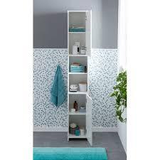 wohnling badschrank wl5 751 modern holz 30 5 x 190 x 30 cm weiß badezimmerschrank mit 2 türen beistellschrank mehrzweckschrank bad schrank