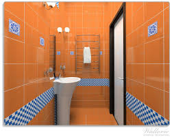 glasunterlage modernes badezimmer in orange mit blauen fliesen wallario de
