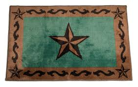 Texas Lone Star Turquoise Rug