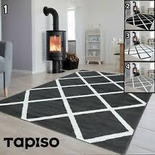 details zu teppich kurzflor grau schwarz weiß gestreift designer wohnzimmer rechteckig neu