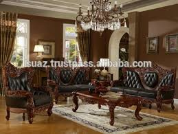 Classic Furniture Luxury Living Room Wooden Sofa Set Solid Designs