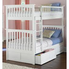 bedroom deluxe simple white painted wooden bunk bed for twin