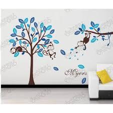 autocollant chambre bébé modèle bleu singe et arbres stickers muraux amovibles vinyle
