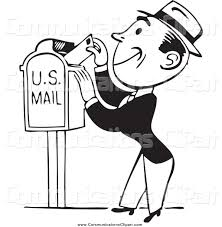 munication Clipart of a Retro Black and White Happy Business Man Inserting a Letter in a