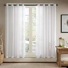 ösenschal voile vorhang in leinen optik leinenstruktur ösenvorhang gardine mit ösen solid sheer wohnzimmer white 2er set je 229x147cm