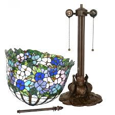 Tiffany Style Lamps Vintage by Water Lily Pattern 2 Light Tiffany Style Lamp