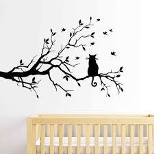 katze auf einem ast wand aufkleber wohnzimmer sofa hintergrund schlafzimmer home dekoration kunst abziehbilder tapete geschnitzte aufkleber