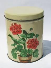 vintage metal kitchen canisters pink geraniums canister set