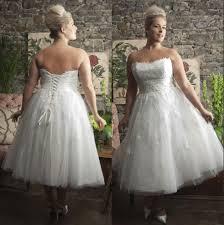 discount short tea length plus size wedding dresses corset back
