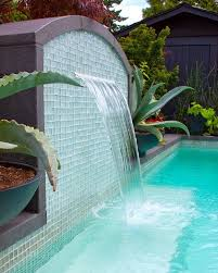 glass tile accent on water wall pool water walls