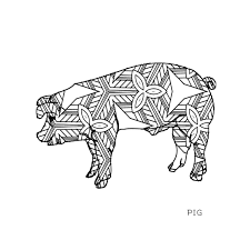 Animals Of The Realm Adult Coloring Book DT2Author Pig