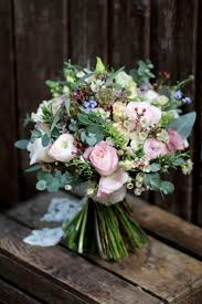 Natural And Rustic Bridal Bouquet Containing Spring Flowers David Austin Garden Style Roses
