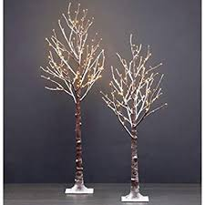 2pk LED Flocked Twig Trees 55 Ft Tree With 168 Lights 45