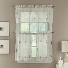 new poppy 24 inch embroidered window curtain tier pair in coral