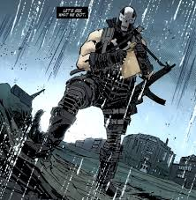 Crossbones Has A Pretty Simple Costume They Kept The All Black Attire With White X On His Chest