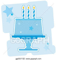 Stock Illustrations Illustration of a blue birthday cake Stock Clipart gg