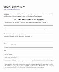 counseling release of information form template counseling release