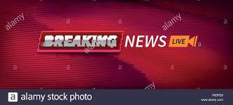 Stock Vector Illustration Logo Breaking News Live Banner Red Wavy Lines Background EPS10